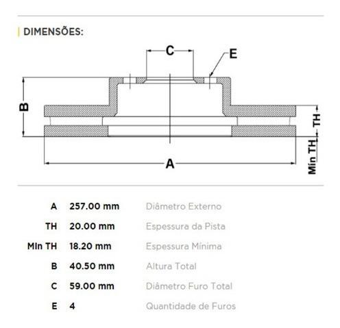 kit pastilha + disco dianteiro doblò 3p essence 1.8 2016