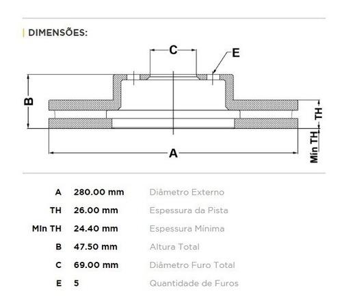 kit pastilha + disco freio dianteiro sonata 2010/... 2.4 16v