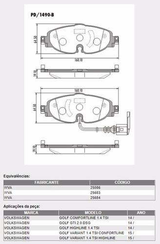 kit pastilha freio dianteira e traseira golf 2014 1.4 tsi