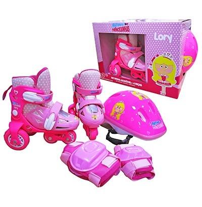 b3a07bfd965 Kit Patins Infantil 3 Rodas 27 A 30+seguranca +capacete Rosa - R ...