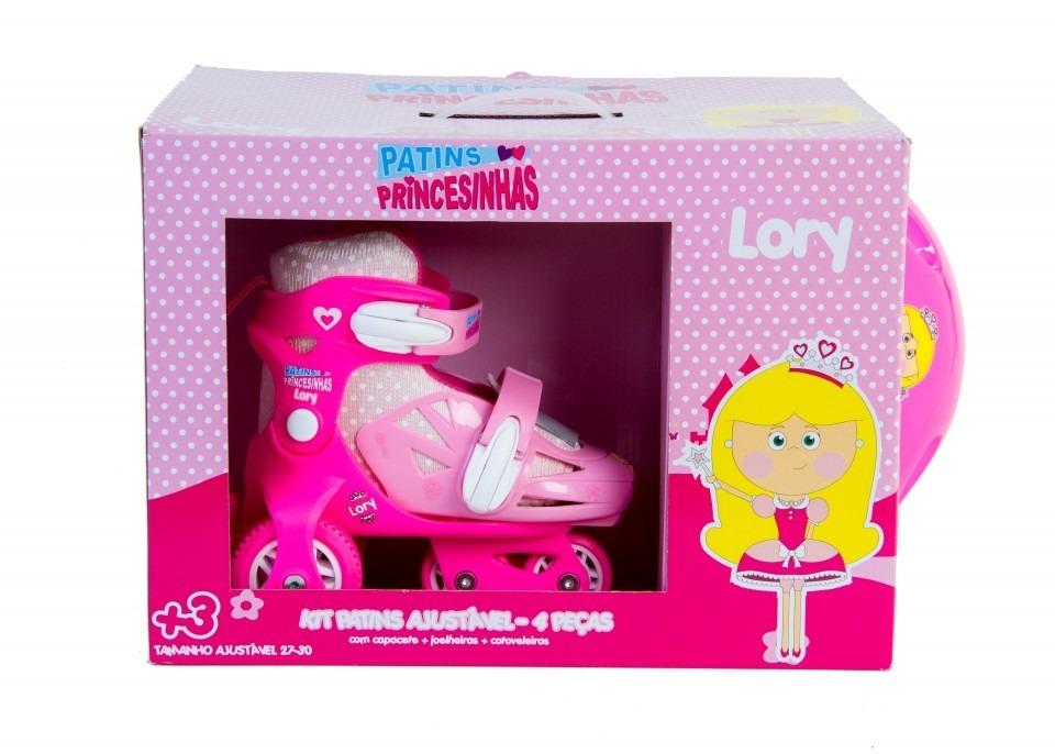 33280a645c8 kit patins infantil 3 rodas 27 a 30+seguranca +capacete rosa. Carregando  zoom.
