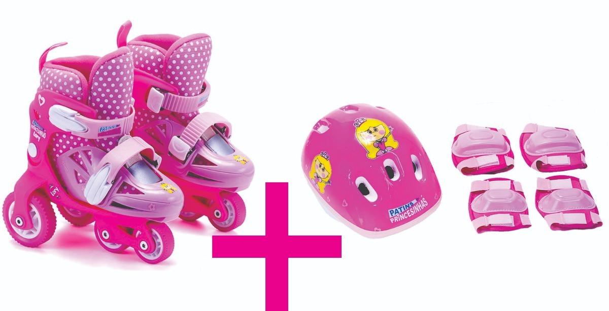 856f37a34ad kit patins infantil feminino ajustável princesinhas 27 a 34. Carregando  zoom.