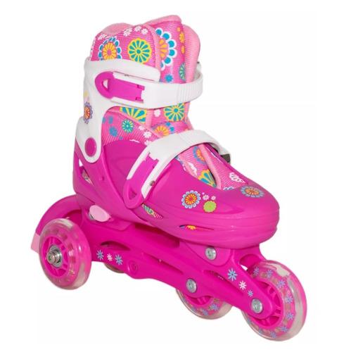 kit patins infantil roller skate tri-line e in-line proteção