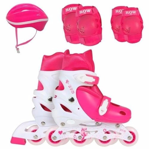 kit patins roller infantil capacete joelho cotov 31-34 rosa