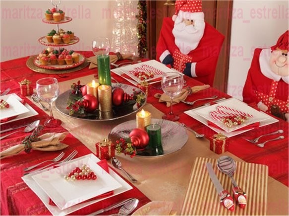 Kit patrones imprimibles para forros sillas navidad arbol - Manteles para navidad ...