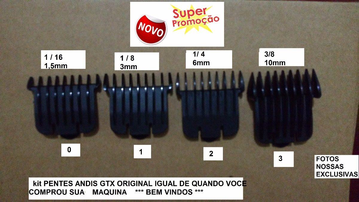 cb9c47e5f Kit Peça Pente 0 - 1 - 2 E 3 Reposição Maquina De Andis Gtx - R$ 119 ...