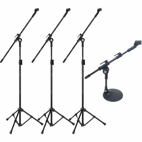 kit pedestal microfone de bumbo + 3 pedestal p/ over bateria