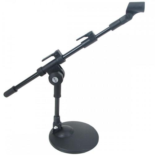 kit pedestal microfone de chão + 3 suportes tripés girafas