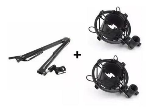 kit pedestal suporte mesa articulado + 2 aranha microfone