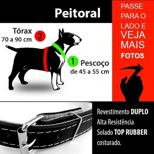kit peitoral coleira guia couro pitbull + brinde enforcador
