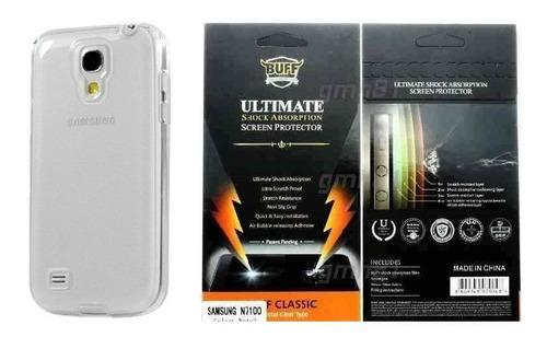 kit - pelicula anti-shock buff galaxy s4 i9500 + capa case