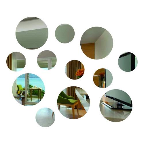kit pequeno 12 peças espelhos decorativos redondo