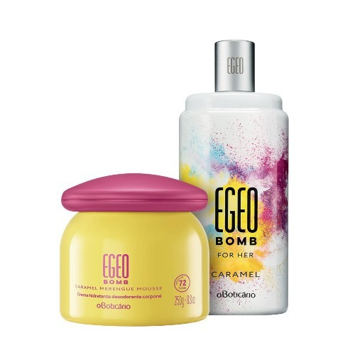 kit perfume egeo bomb for her+merengue mousse o boticário