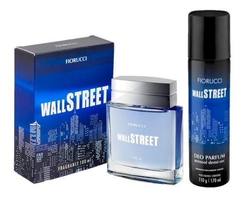 kit perfume masculino wall street 100ml + des aero fiorucci