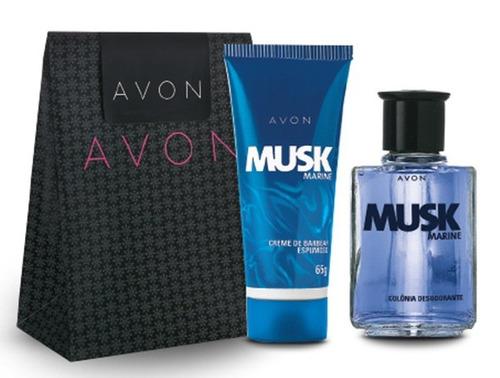 kit perfume musk marine presente especial avon
