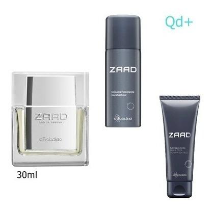 kit perfume zaad 30 ml boticario com espuma barbear e balm