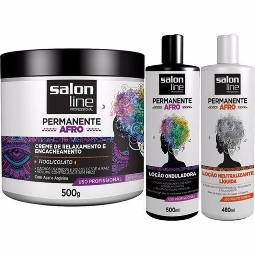 kit permanente afro salon line ( 3 produtos )
