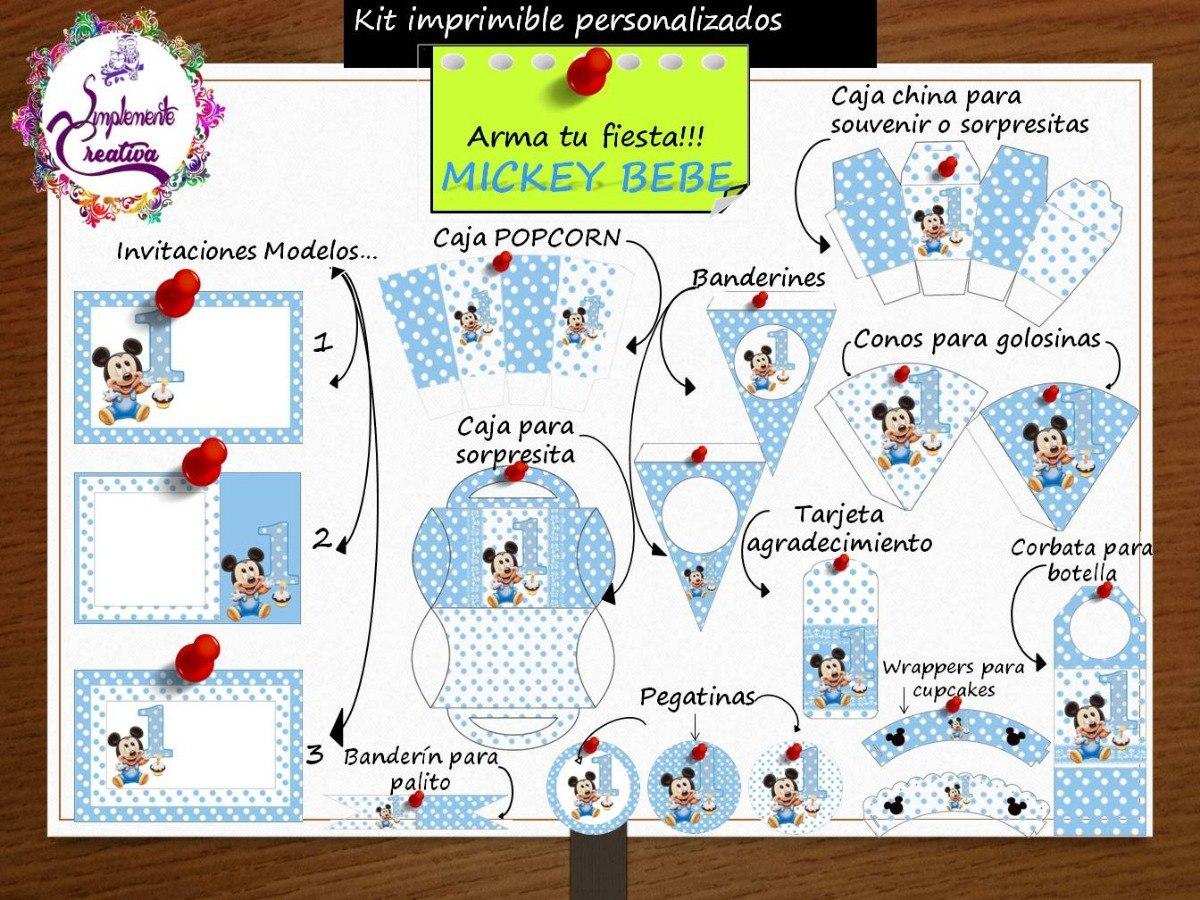 Kit Personalizado Mickey Baby Para Imprimir 169 00 En Mercado