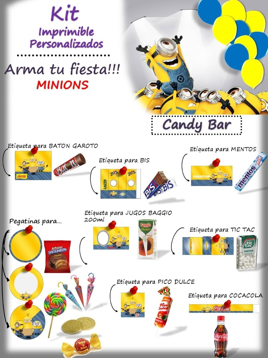 Kit Personalizado Minions Para Imprimir 169 00 En Mercado Libre