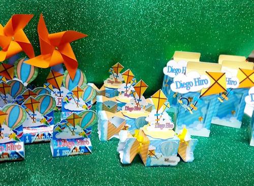 kit personalizados balões, pipas e catavento - com doces