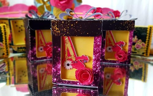 kit personalizados pink chic - 30 itens + topper de bolo