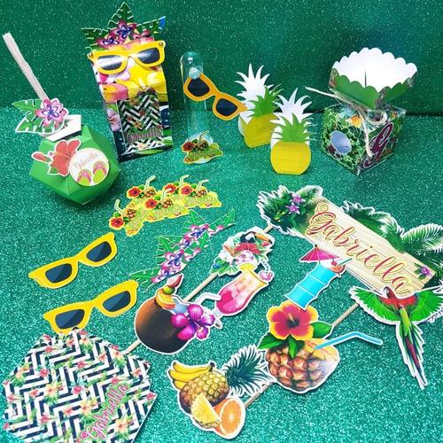 kit personalizados primavera tropical - topper bolo+35 itens