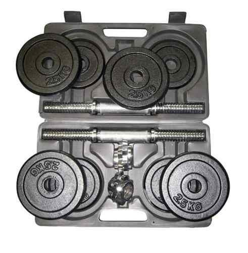 kit  pesas  40 lb 2  barras cortas  discos maletín
