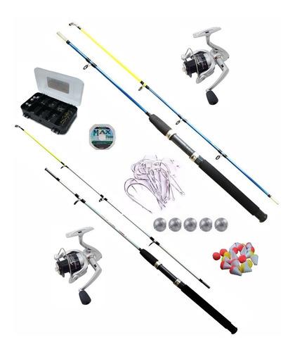 kit pesca, 2 molinetes marine sport, 2 varas, acessórios