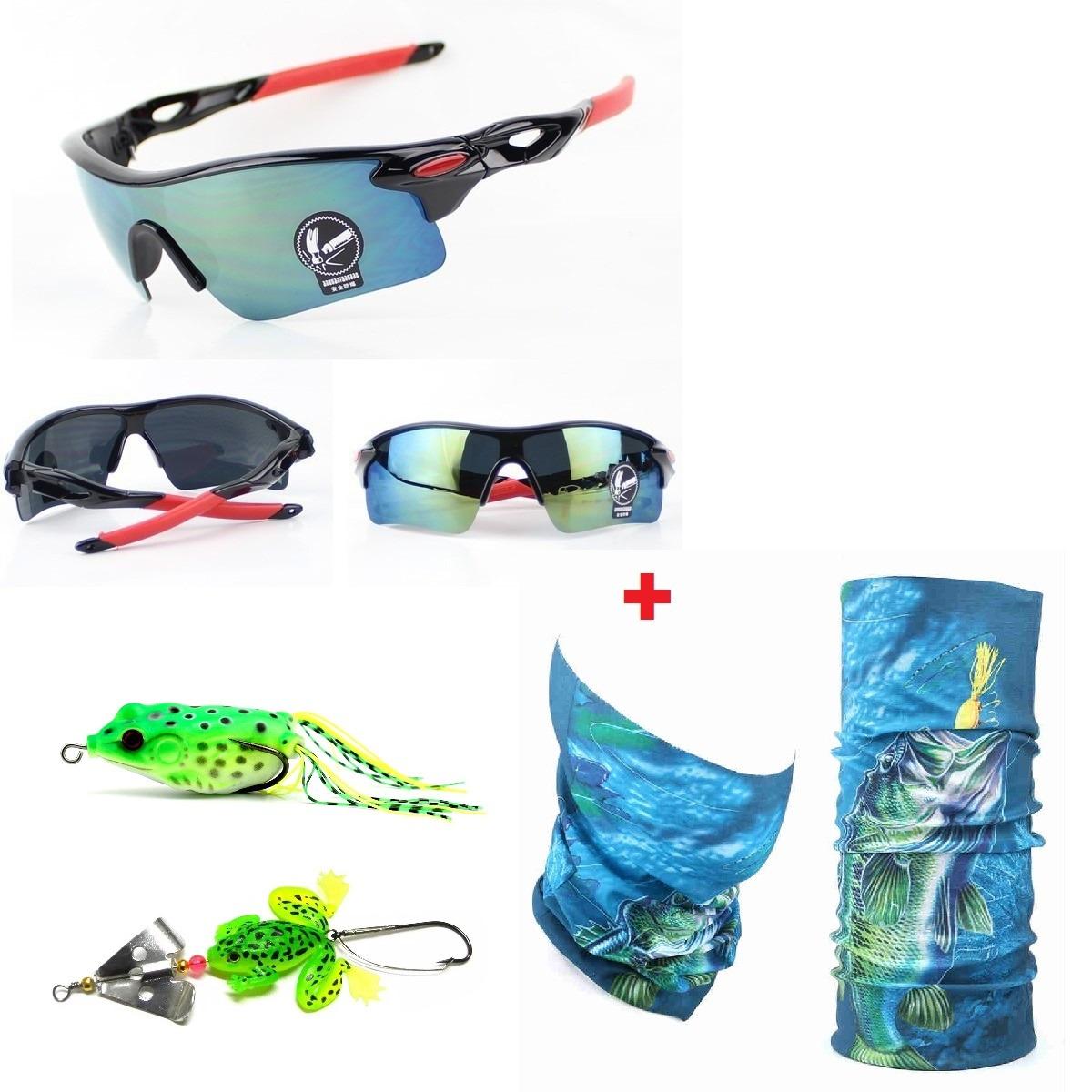 2e0b225f2 Kit Pesca Bandana Óculos 2 Isca Frog Traíra Buzz Bait Barato - R ...