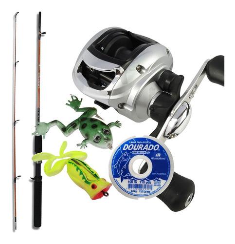 kit pesca carretilha arena linha mono vara 2 frog brinde