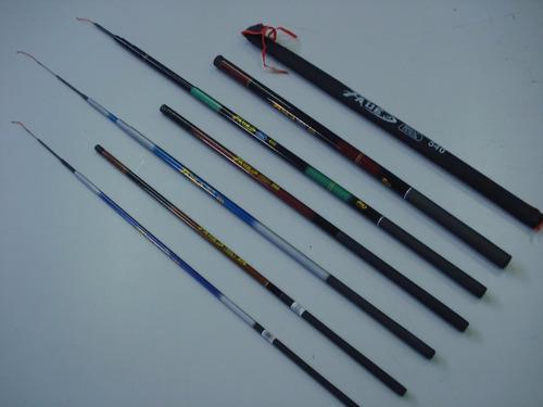 kit pesca com 6 varas telescópicas retratil  vários tam