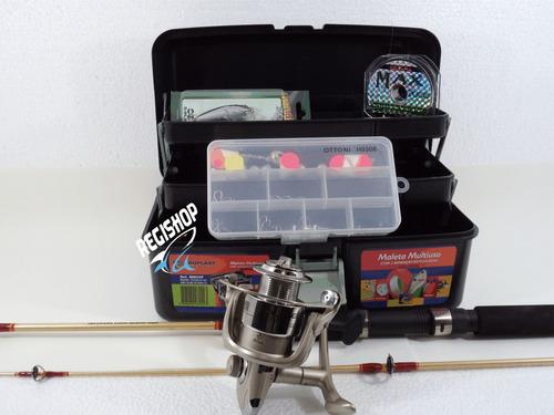 kit pesca marine sport molinete vara boia caixa chumbo