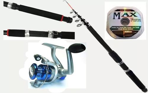 kit pesca+molinete+isca artfic+ vara telescópica+ acessórios
