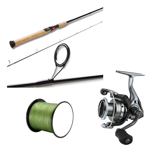 kit pesca rio/lago caña shimano sojourn+carrete okuma+ nylon