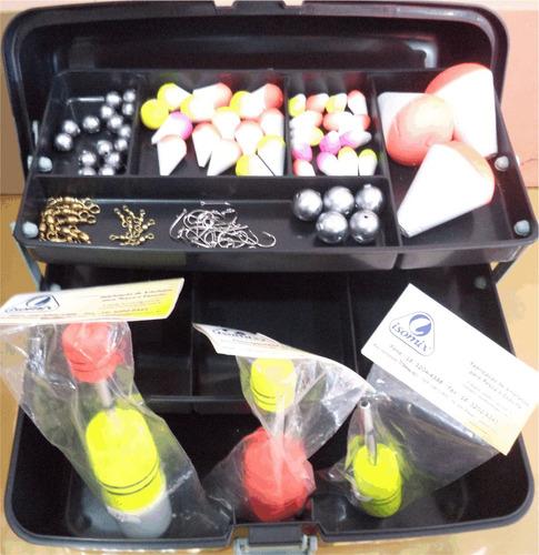 kit pesqueiro boias alicate chumbo anzol maleta - oferta!!!