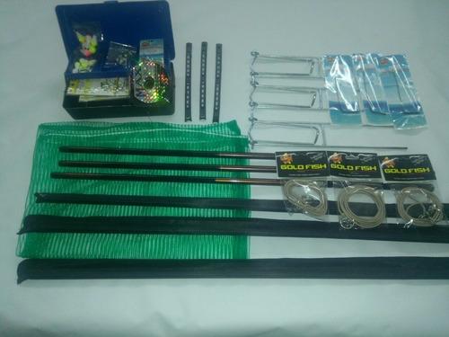 kit pesqueiro estojo + 3 varas telescópica 3,60 + anzois lin