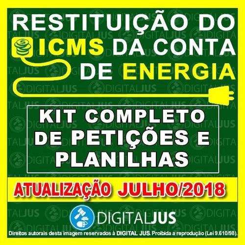 kit petições exclusão icms base cálculo pis cofins + energia
