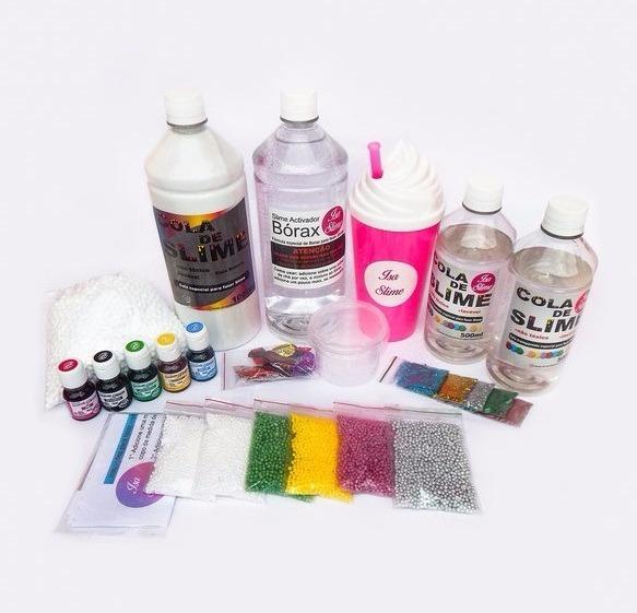 3dbb7cbe5c3e3 Kit P fazer Slime Cola Branca E Transparente+ Borax + Espuma - R  110