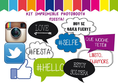 kit photo booth- props- fiesta- cumple 20 unidades