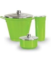 kit pia 3 pçs  de aluminio verde