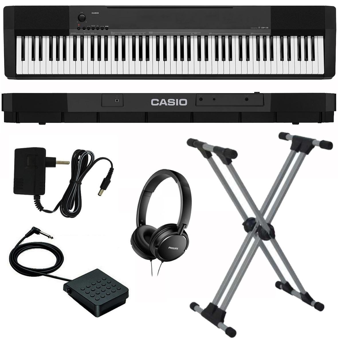 fa152a272cc kit piano digital casio cdp-135 88 teclas preto com suporte. Carregando  zoom.