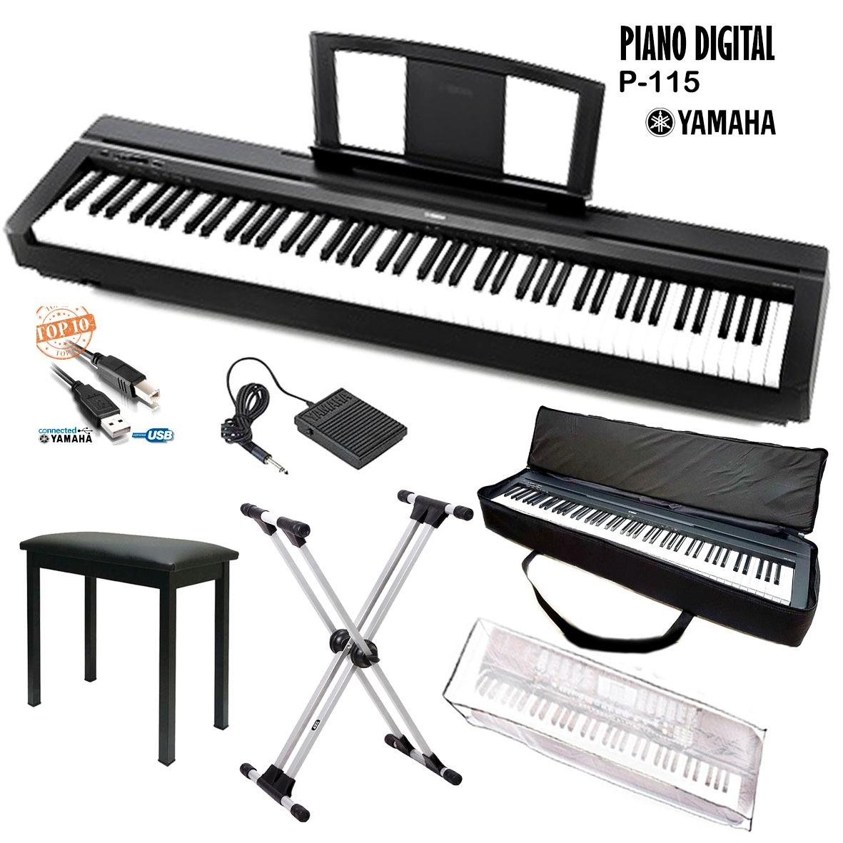 kit piano digital yamaha p115 pedal usb bag sup duplo x r em mercado livre. Black Bedroom Furniture Sets. Home Design Ideas