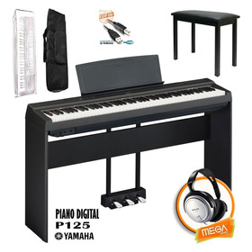 Kit Piano Digital Yamaha P125 Estante Madeira E Pedal Triplo