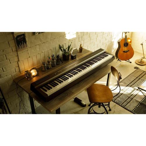 kit piano digital yamaha p125 estante madeira e pedal triplo