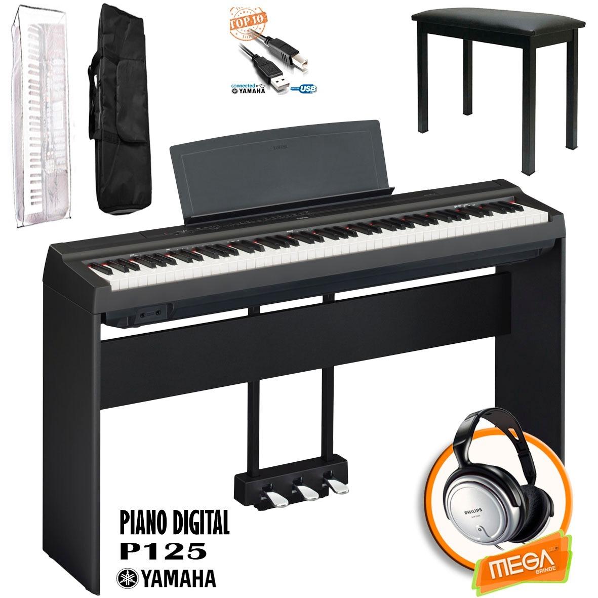 kit piano digital yamaha p125 estante madeira e pedal triplo r em mercado livre. Black Bedroom Furniture Sets. Home Design Ideas