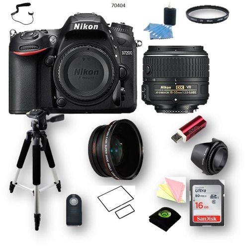 kit pid 70404 nikon d7200 + 18-55mm + gran angular + 11 acc.