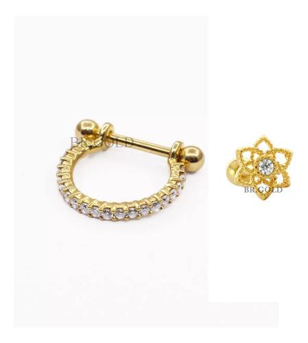 kit piercings argola de conch + flor de lotus p/ cartilagem