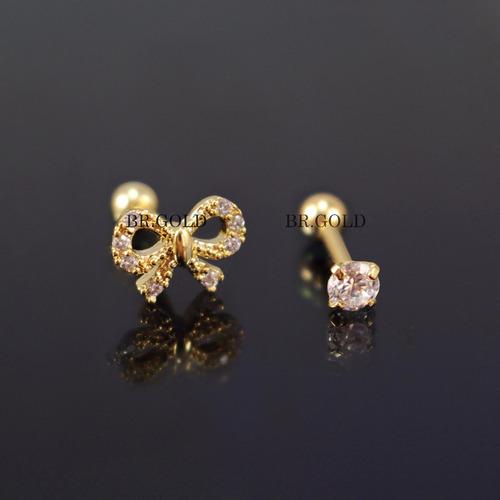 kit piercings de orelha laço + ponto de luz folheados a ouro