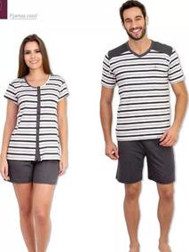 cf0e6aec17a6da Kit Pijama Casal Curto 1 Masculino E 1 Feminino C/ Botão