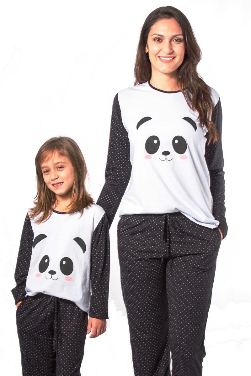 4676257730 Kit Pijama De Panda Mãe E Filha - Pijama De Inverno Longo - R  149 ...